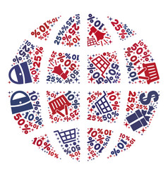 Shopping composition of mosaic globe icon vector