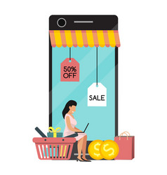 shopping woman mobile online on website or mobile vector image