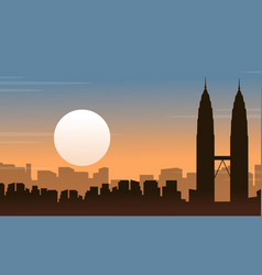 silhouette of malaysia city landscape at sunrise vector image