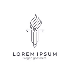 Simple torch logo template vector
