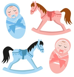 sleepy set babies and rocking horse vector image