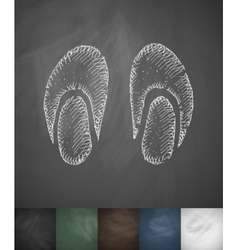 Slippers icon hand drawn vector