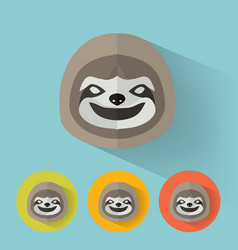 Sloth portrait with flat design vector