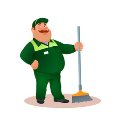 Smiling cartoon janitor with mop funny character vector