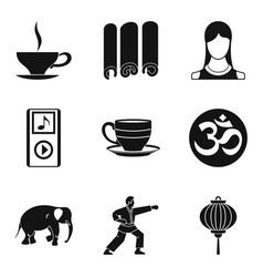 Spiritual equilibrium icons set simple style vector