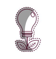 Sticker energy bulb with leaves icon vector