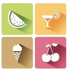 summer food icons with shadow on a white vector image
