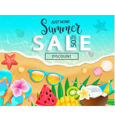 summer sale 2019 top view banner vector image