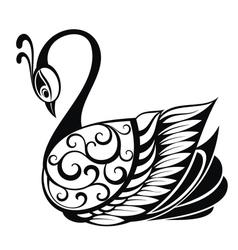 Swan bird silhouette vector image