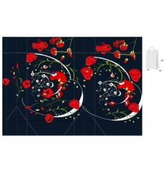 template for bag with rose vector image