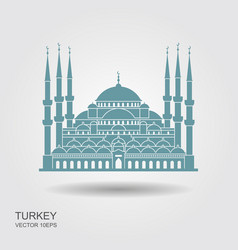 the blue mosque istanbul turkey flat icon with vector image