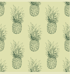 the pineapple sketch seamless pattern vector image