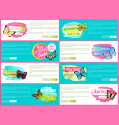 Total spring sale 70 off stickers on web posters vector