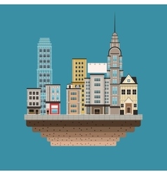Town buildings shops first floor blue background vector