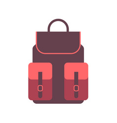 Travel backpack icon in flat style handbag vector