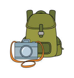 travel bag camping with compass and paper map vector image
