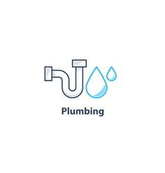 Tube and drop plumbing logo vector image