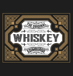 vintage card for whiskey or other liquor vector image