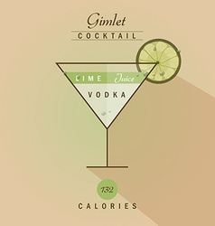 Vodka gimlet cocktail vector