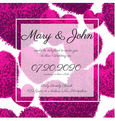 wedding invitations with fluffy hearts vector image