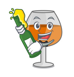 with beer cognac ballon glass mascot cartoon vector image