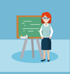 young teacher with blackboard vector image