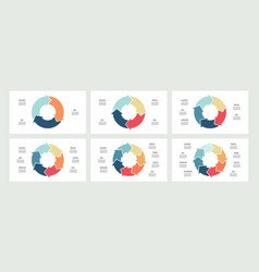 Business infographics circles with 3 4 5 6 7 vector