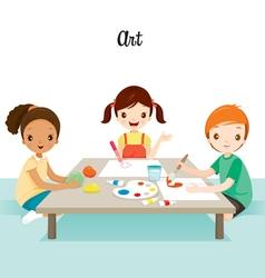 Children Relaxing In Art Class vector image