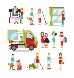 cleaning people flat icon set vector image vector image