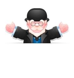 Friendly elderly gentleman with arms wide open vector
