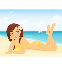 Happy girl on beach vacation vector image vector image