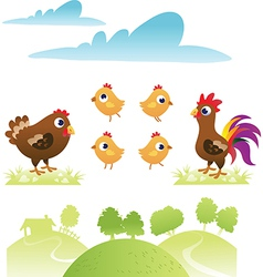 Set of chicken and hen vector image vector image