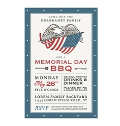 Vintage memorial day barbecue invitation vector