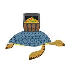 Water Turtle and treasure chest Marine reptiles vector image vector image