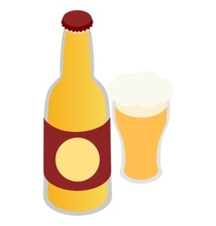 Bottle of beer and a full beer mug icon vector image vector image