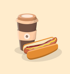 coffee to go and hot dog with mustard and ketchup vector image vector image