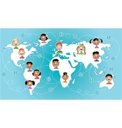 Kids connected worldwide vector image