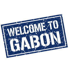 welcome to gabon stamp vector image