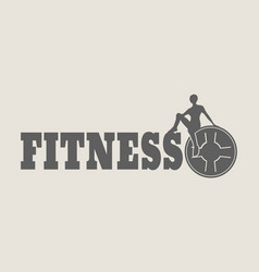 Woman silhouette on fitness text vector