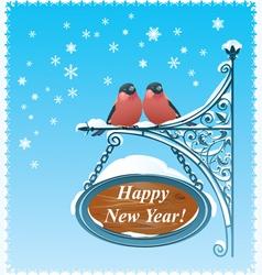 2 Bullfinches - Happy New Year Card vector image vector image