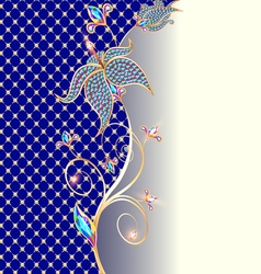 background with floral ornaments made of precious vector image