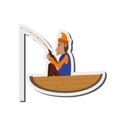 Man fishing on boat icon vector