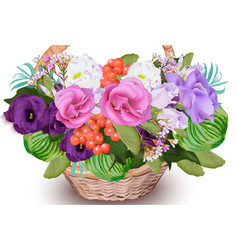 realistic floral bouquet in a basket vector image