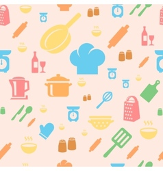 Seamless repetitive pattern with kitchen items in vector image