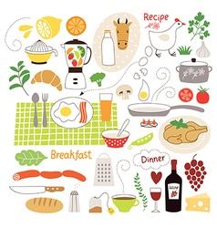 Set of cartoon food ingredient vector image