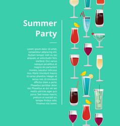 summer party poster with text and set of cocktails vector image vector image