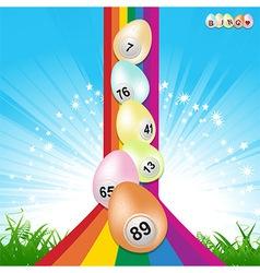 Easter bingo eggs and rainbow vector image vector image