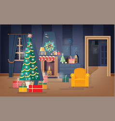 interior of comfy living room decorated for vector image