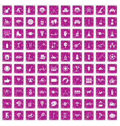 100 kids activity icons set grunge pink vector image
