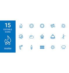 15 warm icons vector image